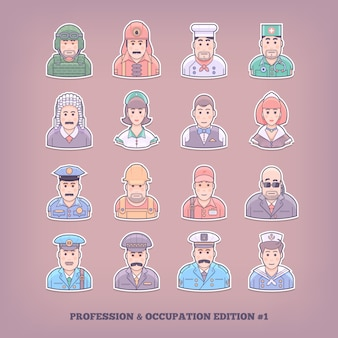 Cartoon people icons. occupation and profession  elements.  concept  illustration.