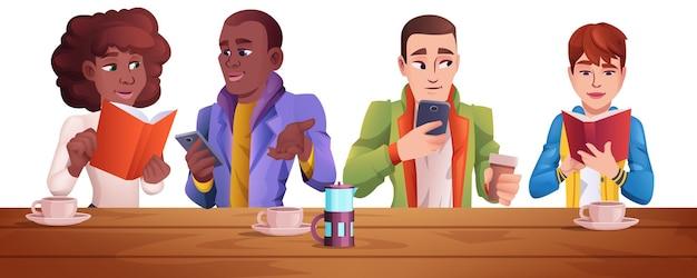 카페에서 커피를 마시고, 전화를 읽고, 사용하는 만화 사람들