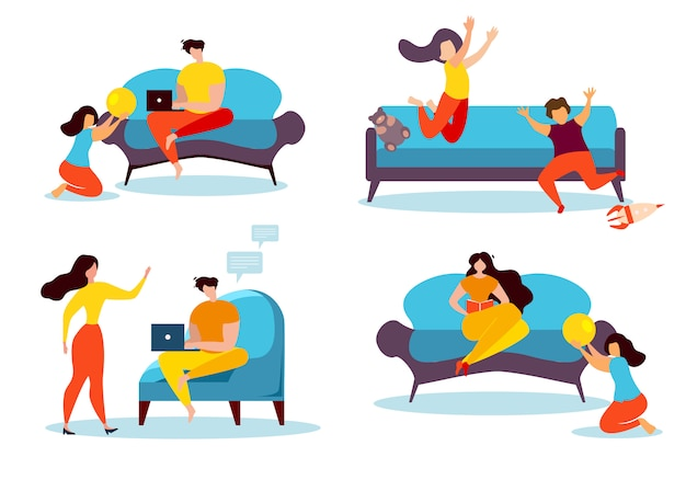 Cartoon people leisure at home family indoors