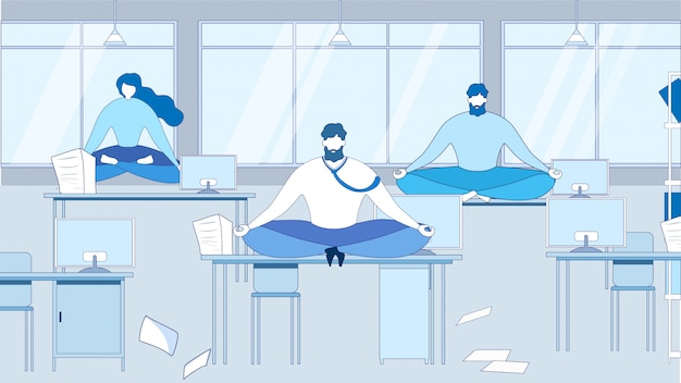 Cartoon people meditating sit on table at office workplace