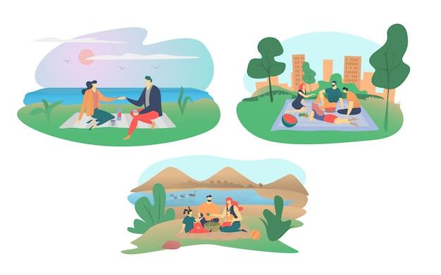 ピクニックイラスト、フラットな家族のキャラクター、幸せな男の女性のカップルや友人の漫画の人々は、白で隔離される食品セットを食べる