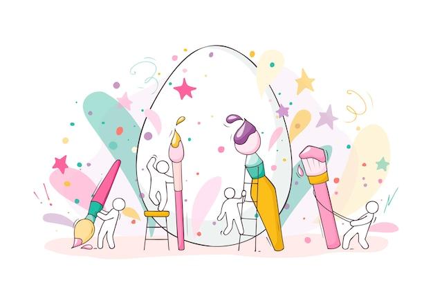 Мультяшные люди рисуют пасхальные яйца