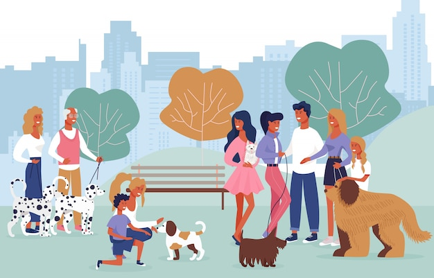 Cartoon people playing with dogs on walk in park