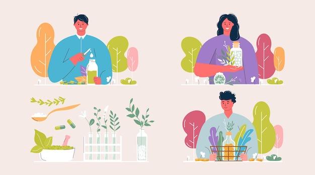 漫画の人々はガラスの瓶に有機の自然なホメオパシーの丸薬を準備しました。ホメオパシー治療バナー、ハーブ代替医療、エッセンシャルナチュラルオイル、ハーブ薬局、栄養補助食品。フラットベクトル