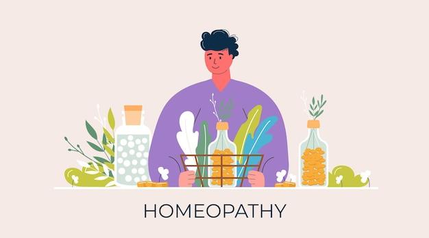 漫画の人々はガラスの瓶に有機の自然なホメオパシーの丸薬を準備しました。ホメオパシー治療バナー、ランディングページ、ハーブ代替医療、薬局、栄養補助食品。フラットベクトル