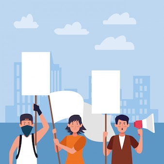 Cartoon people protesting holding blank signs and megaphone over urban city buildings