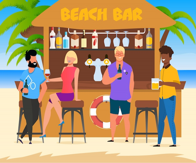Cartoon people relax at beach bar .