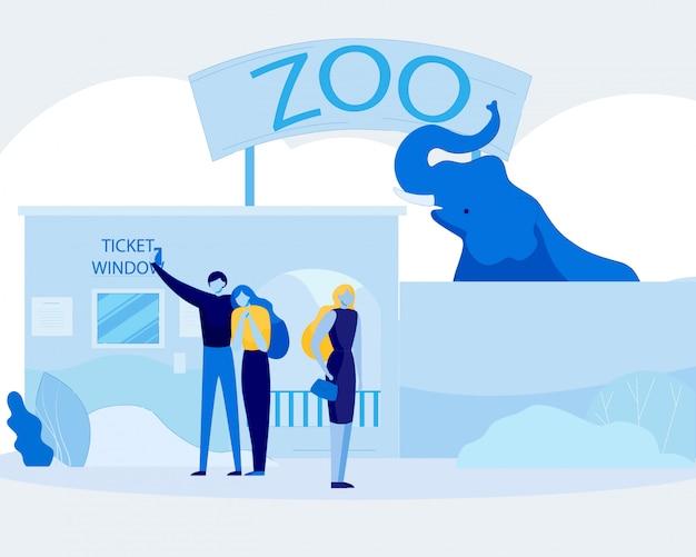 漫画の人々がリラックスして動物園で楽しんで