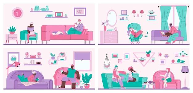 소파에 남자와 여자의 평면 세트 거실에서 편안한 만화 사람들