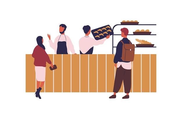 Мультяшные люди делают покупки в пекарне, покупая свежий хлеб плоской иллюстрации