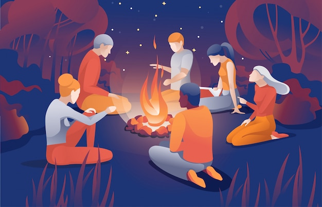 Cartoon people sit near bonfire at summer night