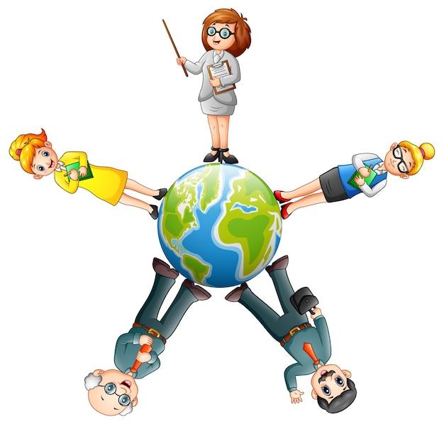 Cartoon people standing around the globe