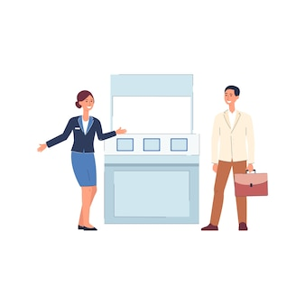 Cartoon people standing by expo stand - woman in uniform greeting customer by exhibition counter, product advertising stall -    illustration.
