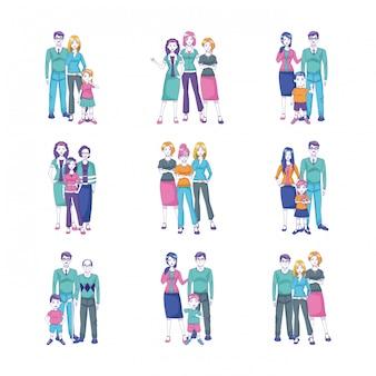 Cartoon people standing with kids