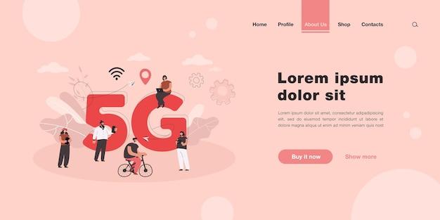 Cartoon people surfing internet in smart city landing page in flat style