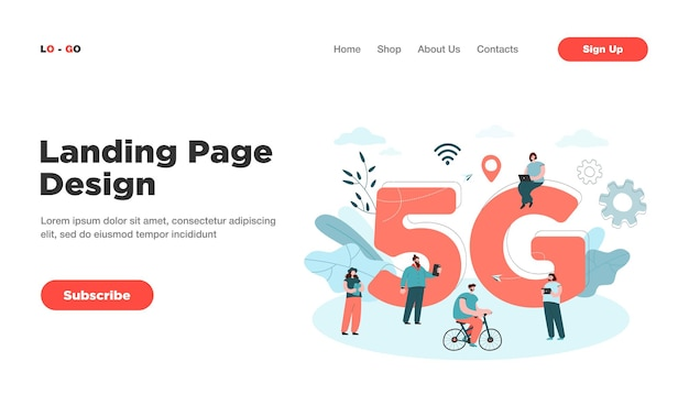 Cartoon people surfing internet in smart city landing page. landing page