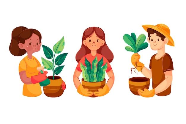 Мультяшные люди, ухаживающие за растениями, иллюстрированные