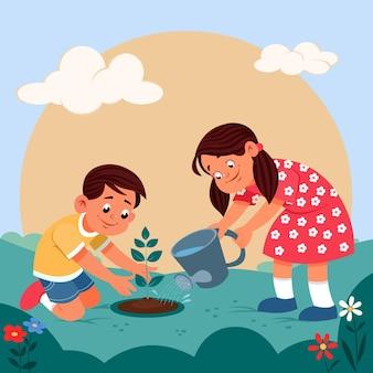 植物の世話をする漫画の人々