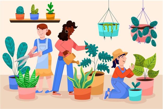 Cartoon people taking care of plants