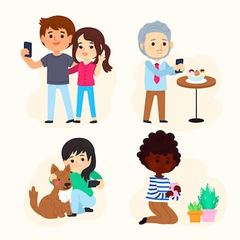 Cartoon people taking photos with smartphone
