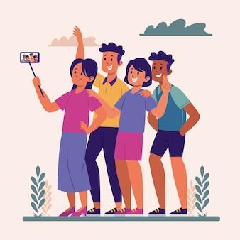 Persone dei cartoni animati che scattano foto con lo smartphone
