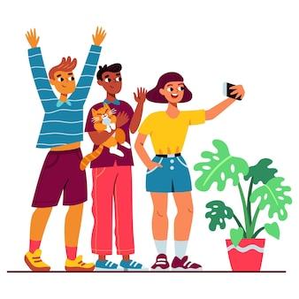 スマートフォンで写真を撮る漫画の人々