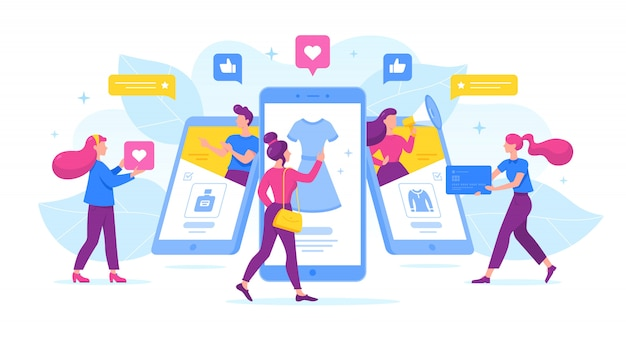 Cartoon people using mobile phones for commerce