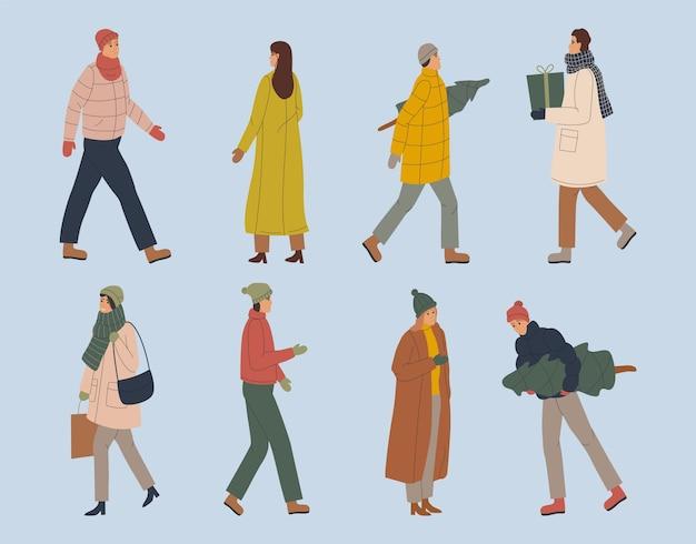 冬の服を着ている漫画の人々