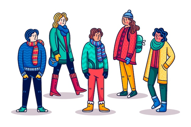 Cartoon people wearing winter clothes