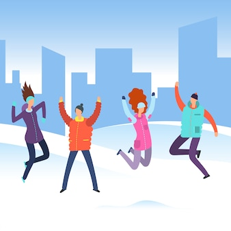 Cartoon people in winter clothes on city landscape