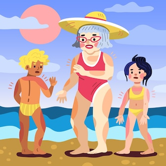 日焼けを描いた漫画の人々