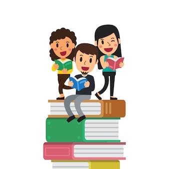 Cartoon people with books