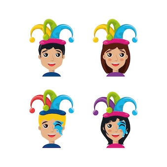 Cartoon people with jester hats icon set