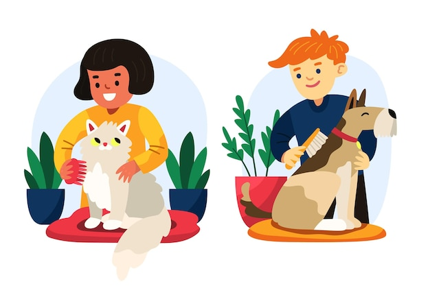 Cartoon people with pets