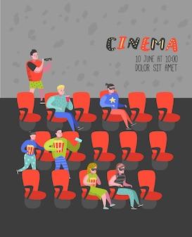 シネマシートポスターで映画を見ているポップコーンとソーダを持つ漫画の人々