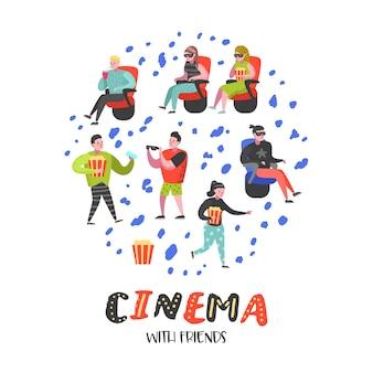 映画館で映画を見ているポップコーンとソーダを持つ漫画の人々