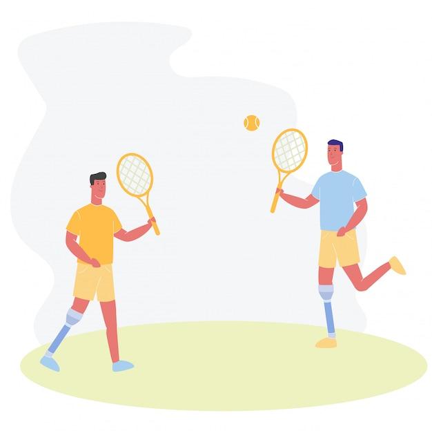 Cartoon people with prosthetic leg play tennis