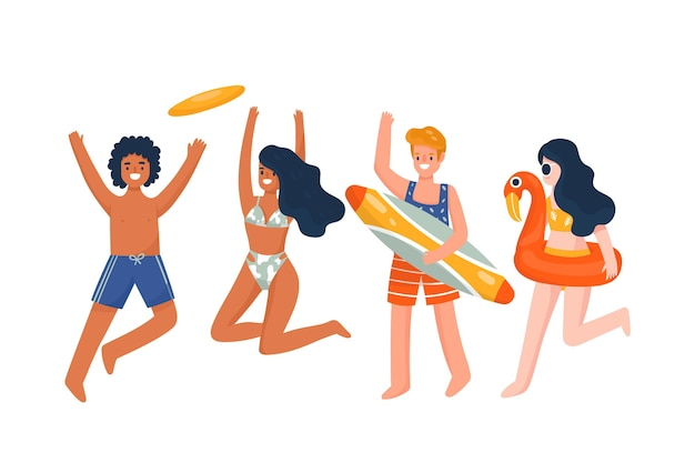 Cartoon people with summer clothes collection