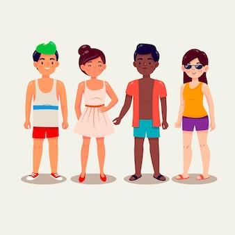 夏服パックを持つ漫画の人々