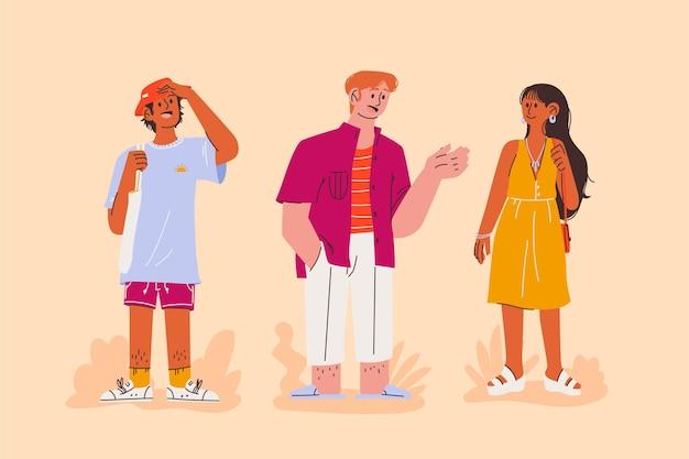 Gente del fumetto con vestiti estivi insieme