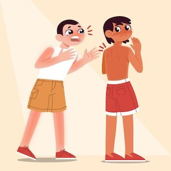 Cartoon people with a sunburn illustration