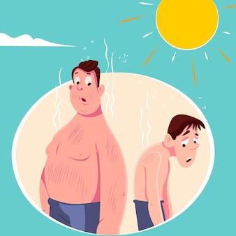 Persone dei cartoni animati con un'illustrazione di scottature solari