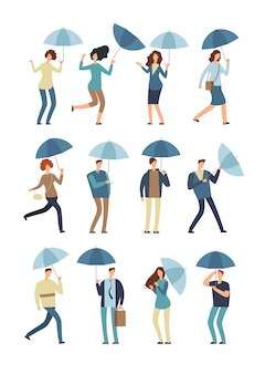Cartoon people with umbrella in rainy day.