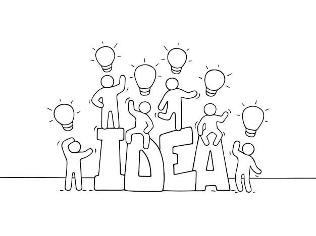 単語のアイデアとランプのアイデアを持つ漫画の人々。ビジネスデザインのベクトル図です。