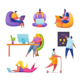 사무실, 집 또는 공동 작업의 직장에서 일하는 만화 사람들. 현대 작업 조건 설정 kanban 책상, 바닥에 누워 노트북과 소녀, 프리랜서 남자 앉아 다리를 건너 관리자.