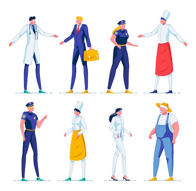 Cartoon people working in various professions.