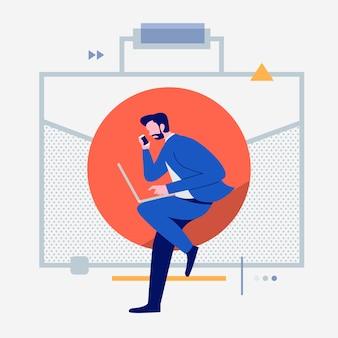 Мультяшные люди, использующие интернет-устройства, такие как смартфон и ноутбук со значком цифрового образа жизни. бизнес-объект. иллюстрации.
