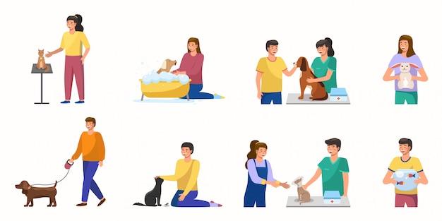 漫画ペットケアコンセプトデザイン。男性と女性のキャラクターがペットの世話をします-犬の散歩、猫とのリラックス、獣医の訪問、ウサギ、水族館の魚の抱擁。