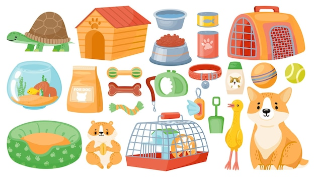 Cartoon pet food, accessories, care items, toys and treats. animal shop supplies, collar, dog grooming, hamster cage and aquarium vector set. store with products for turtle and fish