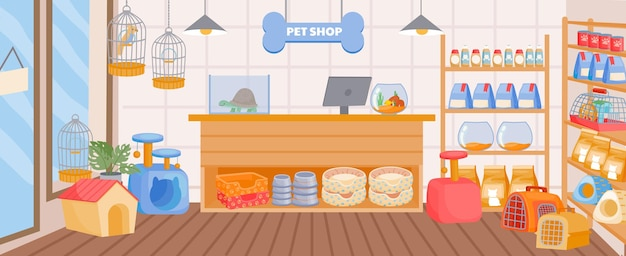 카운터 책상과 선반이 있는 만화 애완동물 가게 내부. 액세서리, 장난감, 음식이 있는 실내 빈 동물 가게. 동물원 슈퍼마켓 벡터 개념입니다. 가축용 도구, 제품 및 간식